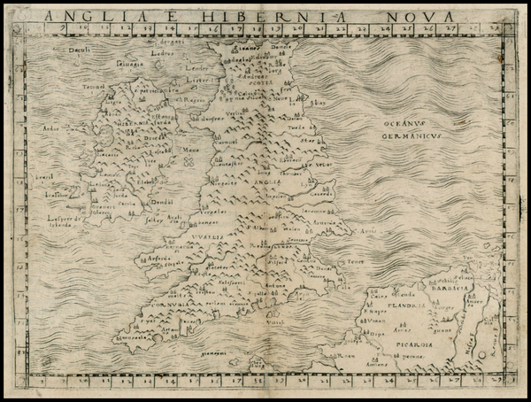 17-British Isles Map By Giacomo Gastaldi