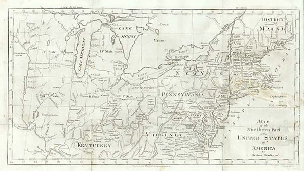 19-New England, Southeast and Midwest Map By Abraham Bradley