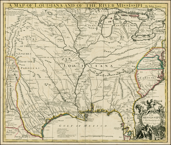7-United States, South, Southeast, Texas, Midwest and Plains Map By John Senex