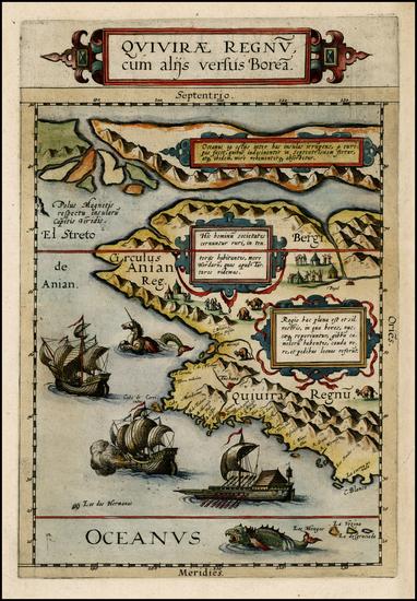 45-Polar Maps, Alaska, Canada, Pacific and California Map By Cornelis de Jode