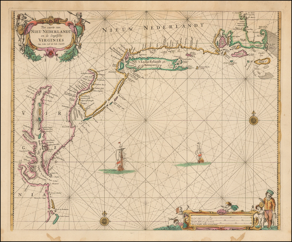 53-New England, New York State, Mid-Atlantic and Southeast Map By Pieter Goos