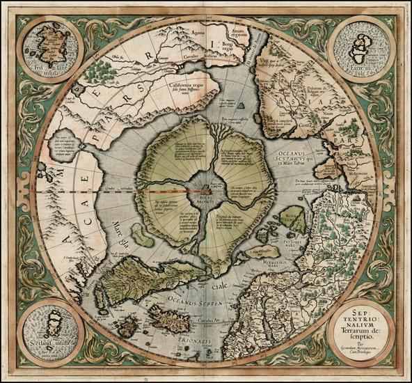 10-World, Polar Maps and Alaska Map By Gerard Mercator