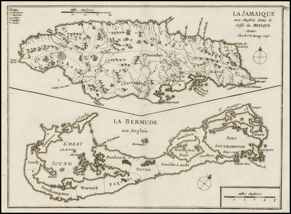 48-Jamaica and Bermuda Map By George Louis Le Rouge