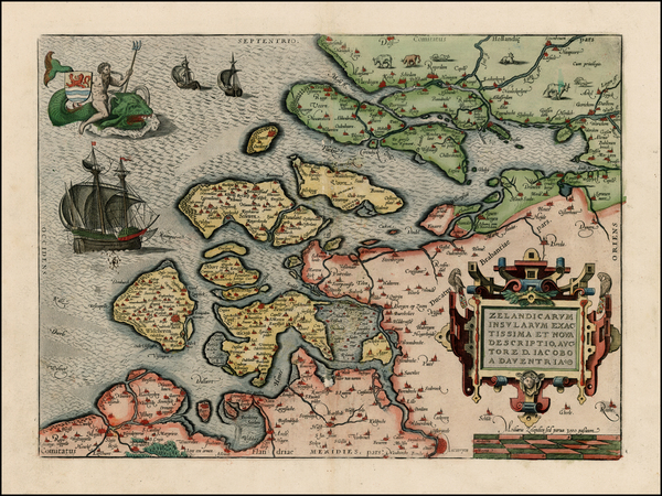 64-Netherlands Map By Abraham Ortelius