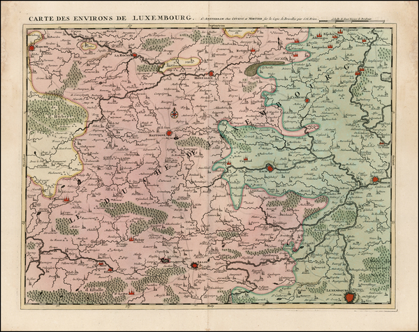 19-Luxembourg Map By Johannes Covens  &  Cornelis Mortier