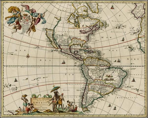 81-Western Hemisphere, South America, New Zealand and America Map By John Ogilby