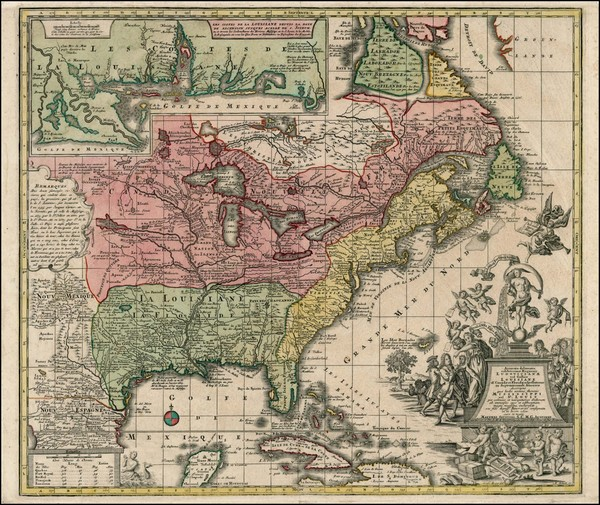 90-South, Southeast, Texas, Midwest and North America Map By Matthaus Seutter