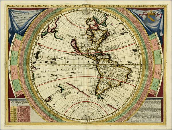96-Western Hemisphere, North America, South America, Pacific and America Map By Vincenzo Maria Cor
