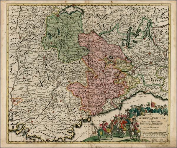 30-Switzerland, France and Italy Map By Cornelis II Danckerts