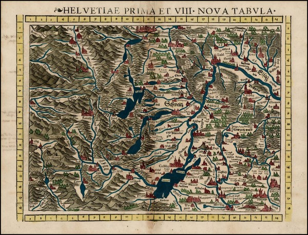48-Switzerland and Italy Map By Sebastian Munster
