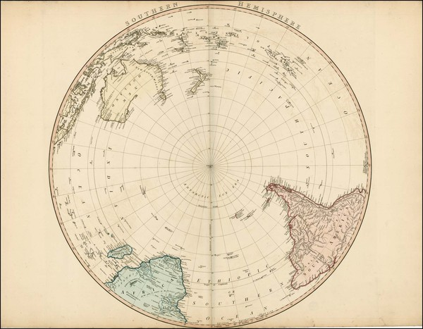 75-Southern Hemisphere, Polar Maps, Australia and Oceania Map By William Faden