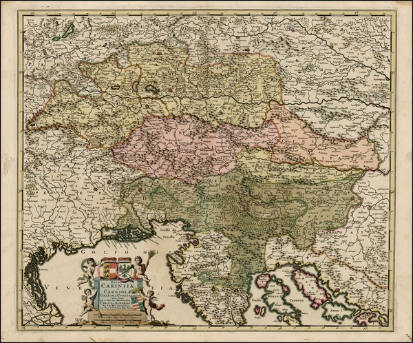 35-Austria, Balkans and Italy Map By Frederick De Wit