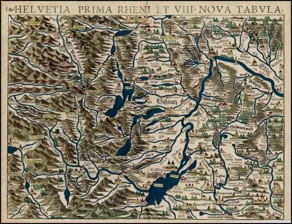 72-Switzerland Map By Sebastian Munster