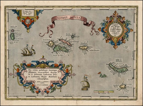 81-Atlantic Ocean, Portugal and Balearic Islands Map By Abraham Ortelius