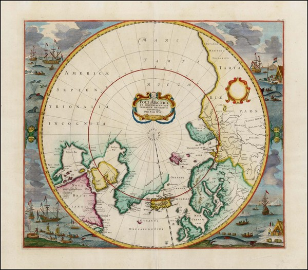 33-Northern Hemisphere, Polar Maps, Canada, Russia and Scandinavia Map By Frederick De Wit