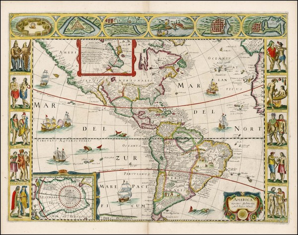 12-South America and America Map By Jodocus Hondius