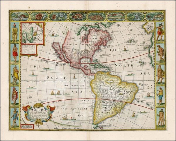 7-South America and America Map By John Speed
