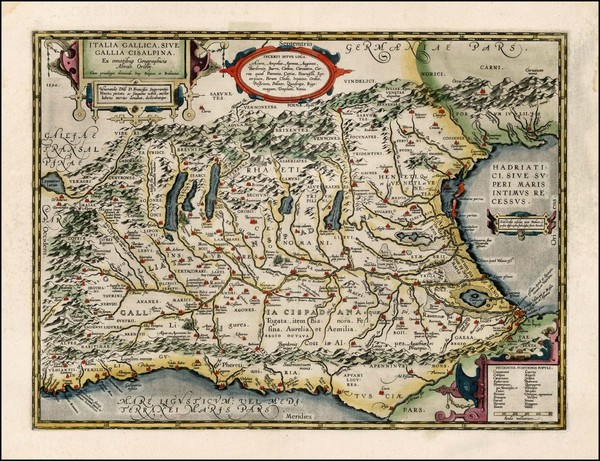 80-Switzerland and Italy Map By Abraham Ortelius