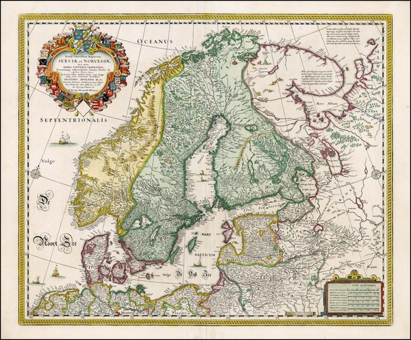 48-Baltic Countries and Scandinavia Map By Nicolaes Visscher I