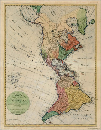 84-South America and America Map By Homann Heirs / Franz Ludwig Gussefeld