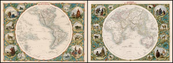 9-World, Eastern Hemisphere, Western Hemisphere, South America and America Map By John Tallis