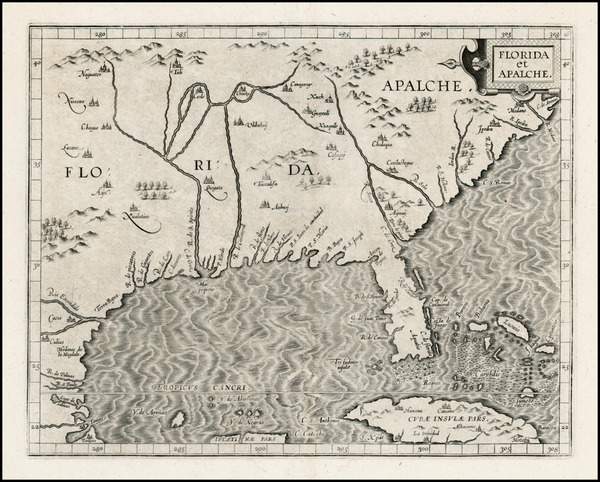 1-Florida, Southeast, Texas and Caribbean Map By Cornelis van Wytfliet