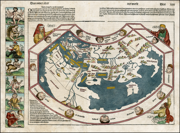 80-World, World and Curiosities Map By Hartmann Schedel