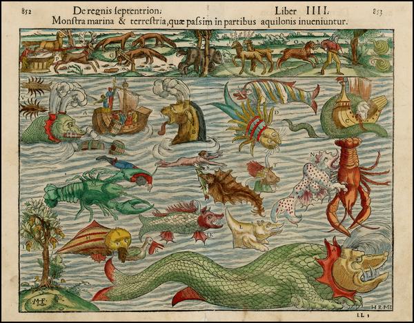 82-Curiosities Map By Sebastian Munster