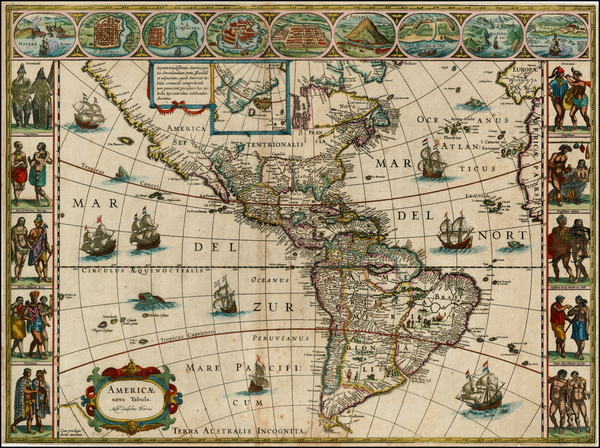 79-North America, South America and America Map By Willem Janszoon Blaeu
