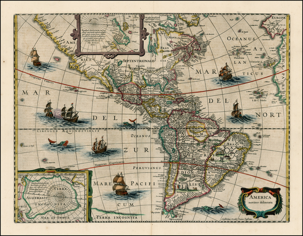 99-South America and America Map By Jodocus Hondius / Jan Jansson