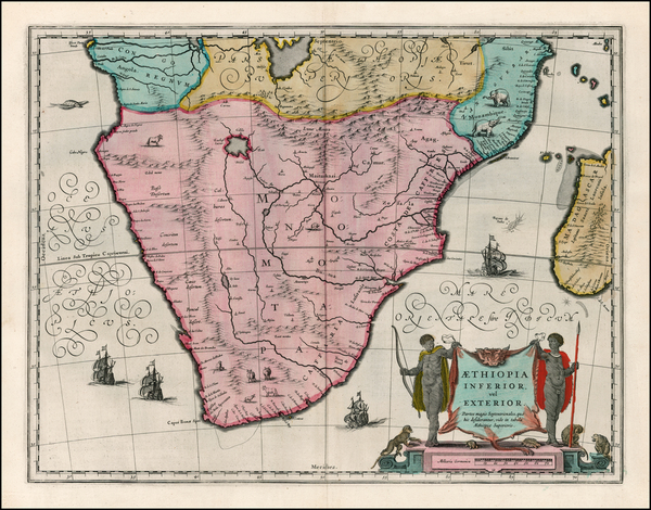 2-South Africa and African Islands, including Madagascar Map By Willem Janszoon Blaeu
