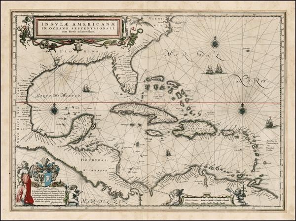 37-South, Southeast, Caribbean and Central America Map By Willem Janszoon Blaeu