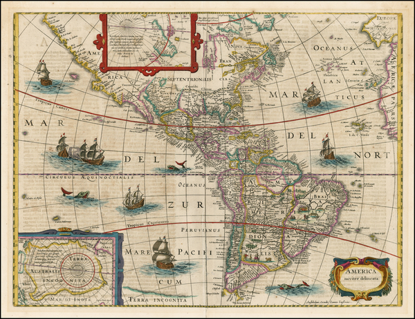 74-South America and America Map By Jodocus Hondius / Jan Jansson