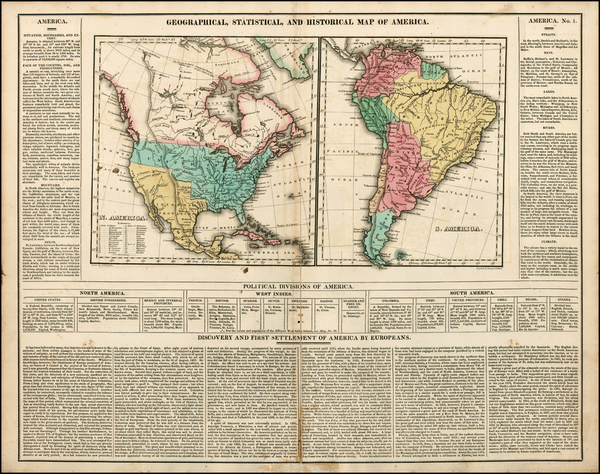 23-South America and America Map By Henry Charles Carey  &  Isaac Lea