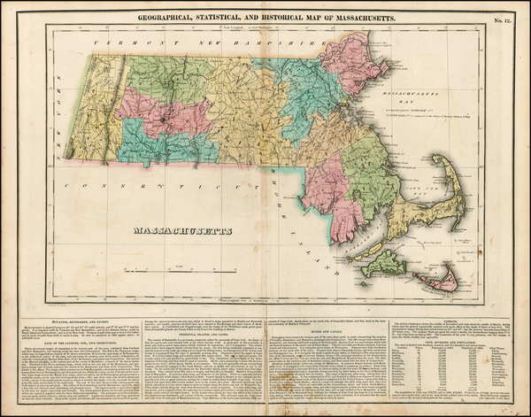 99-New England and Massachusetts Map By Henry Charles Carey  &  Isaac Lea