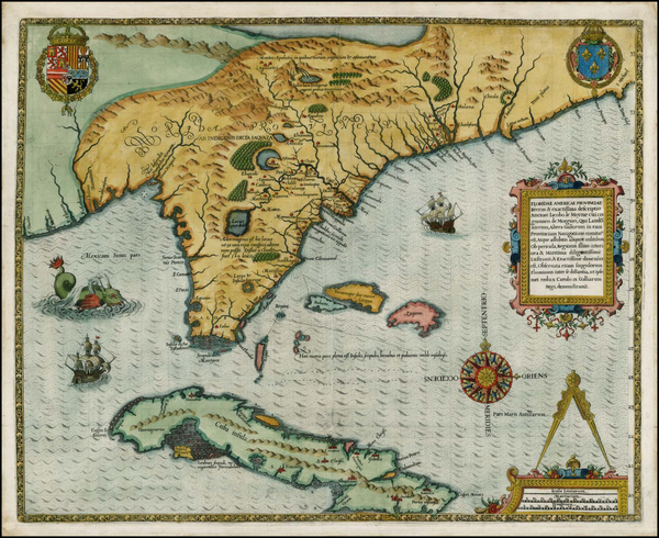 54-Florida, South, Southeast, Midwest and Caribbean Map By Jacques Le Moyne