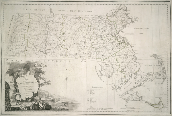 95-New England and Massachusetts Map By Osgood Carleton
