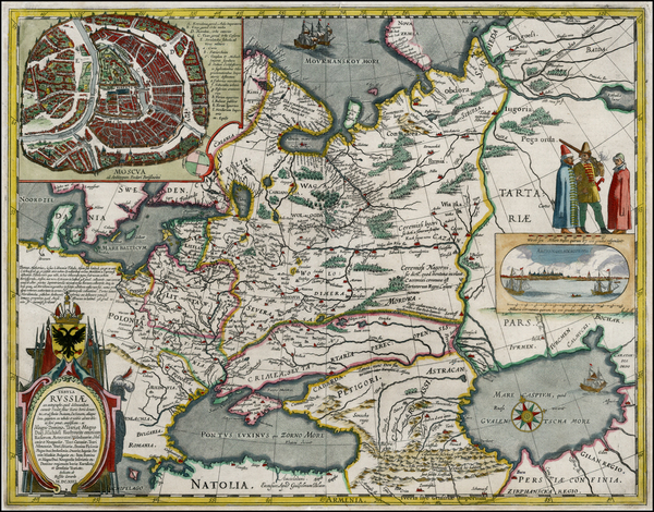 30-Poland, Russia, Ukraine, Baltic Countries and Russia in Asia Map By Willem Janszoon Blaeu