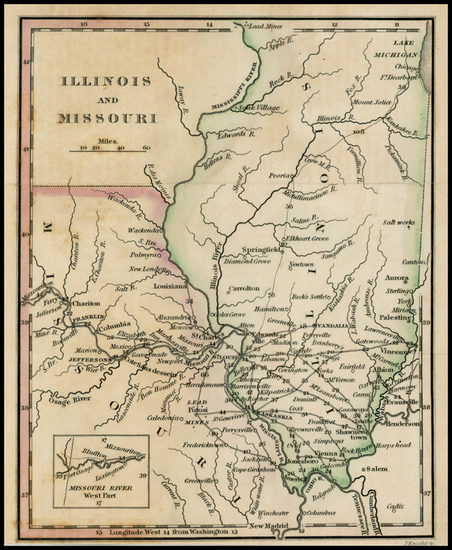 57-Midwest, Illinois and Missouri Map By William Darby