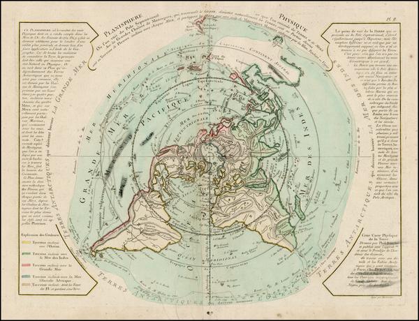 92-World, Northern Hemisphere, Polar Maps, Alaska, Canada and Australia Map By Jean André D