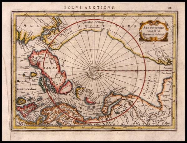 65-World, World, Polar Maps and Alaska Map By Gerard Mercator