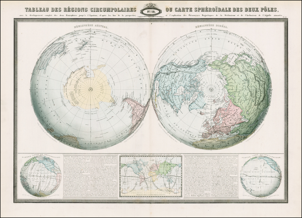 43-World, World, Northern Hemisphere, Southern Hemisphere and Polar Maps Map By F.A. Garnier