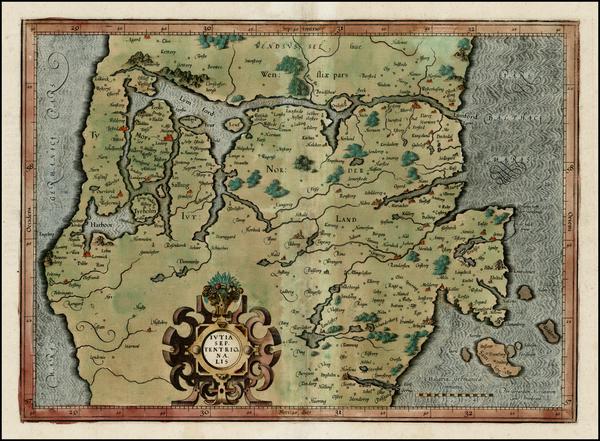 75-Denmark Map By Gerard Mercator