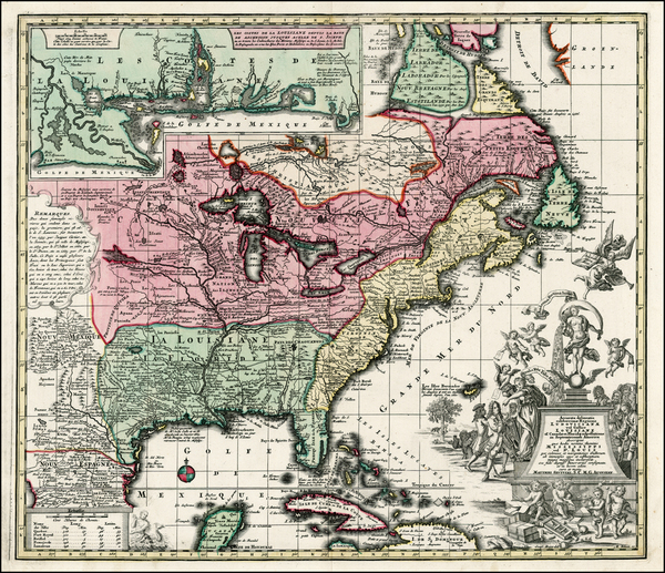 51-South, Southeast, Texas, Midwest and North America Map By Matthaus Seutter