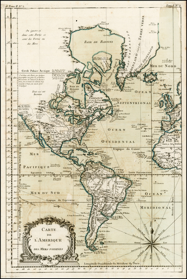 88-South America and America Map By Jacques Nicolas Bellin