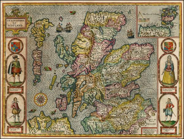 8-British Isles and Scotland Map By John Speed