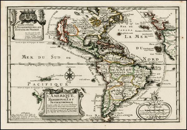 74-South America, California and America Map By Nicolas de Fer