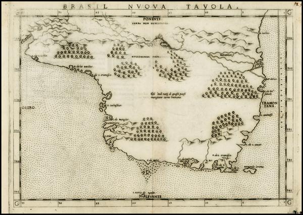 73-South America and Brazil Map By Girolamo Ruscelli