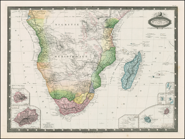 67-South Africa and African Islands, including Madagascar Map By F.A. Garnier