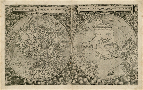 70-World, Northern Hemisphere and Southern Hemisphere Map By Cornelis de Jode